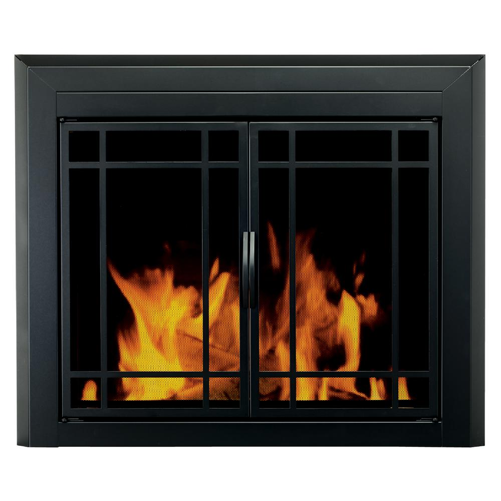 Add a traditional accent to any contemporary settings by using this durable Pleasant Hearth Easton Medium Glass Fireplace Doors.