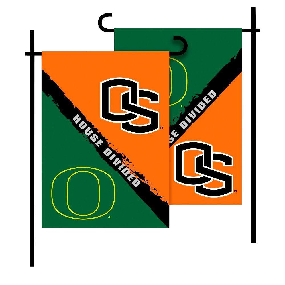 BSI Products NCAA Oregon-Oregon State House Divided 1 ft. x 1.5 ft. Collegiate 2-Sided Garden Flag with Pole #11213