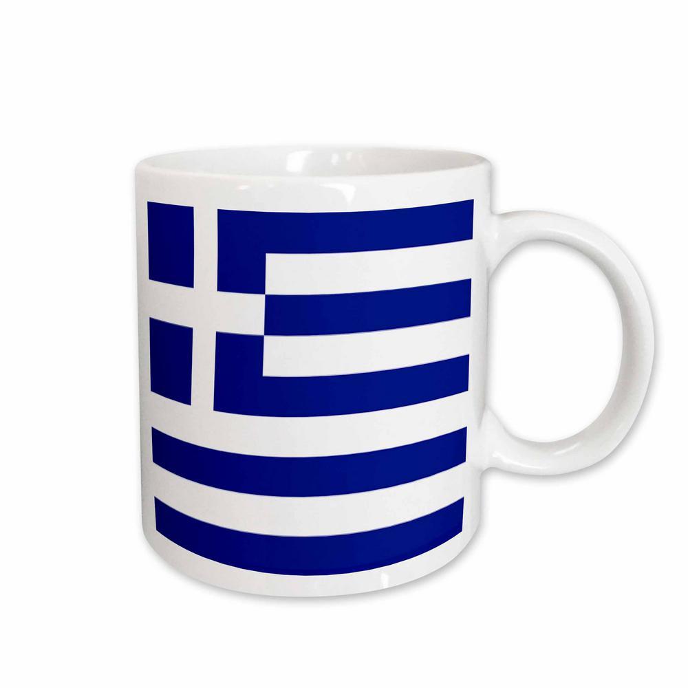 Flags 11 oz. White Ceramic Greek Flag Mug