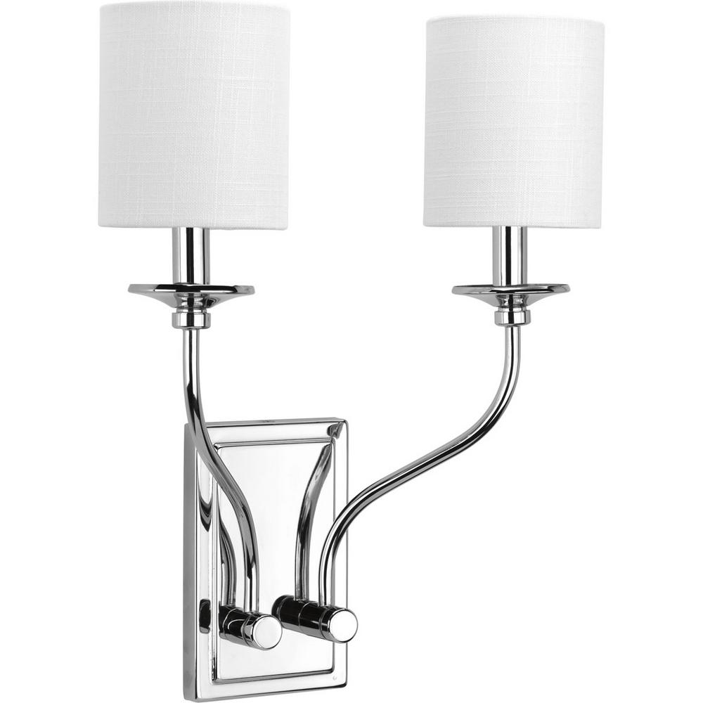 Progress Lighting Bonita Collection 2-Light Polished Chrome Wall Sconce with White Linen Shade  sc 1 st  Home Depot & Progress Lighting Bonita Collection 2-Light Polished Chrome Wall ...