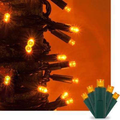 17 ft. 50-Light Amber/Orange 5 mm LED Mini Light Set