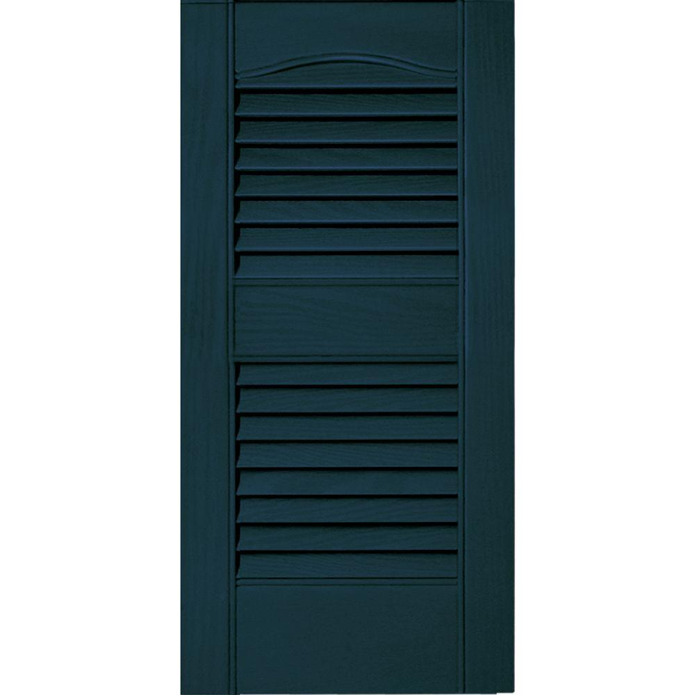 Builders Edge 12 in. x 25 in. Louvered Vinyl Exterior Shutters Pair #166 Midnight Blue
