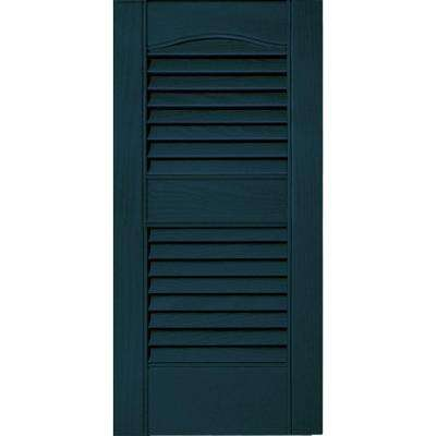 12 in. x 25 in. Louvered Vinyl Exterior Shutters Pair #166 Midnight Blue