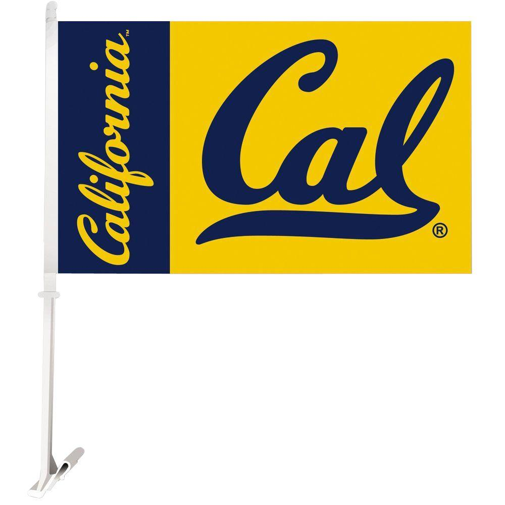 BSI Products NCAA 11 in. x 18 in. Cal Berkeley 2-Sided Car Flag with 1-1/2 ft. Plastic Flagpole (Set of 2)