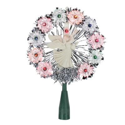 8 in. Silver Tinsel Wreath with Angel Christmas Tree Topper with Multi-Lights