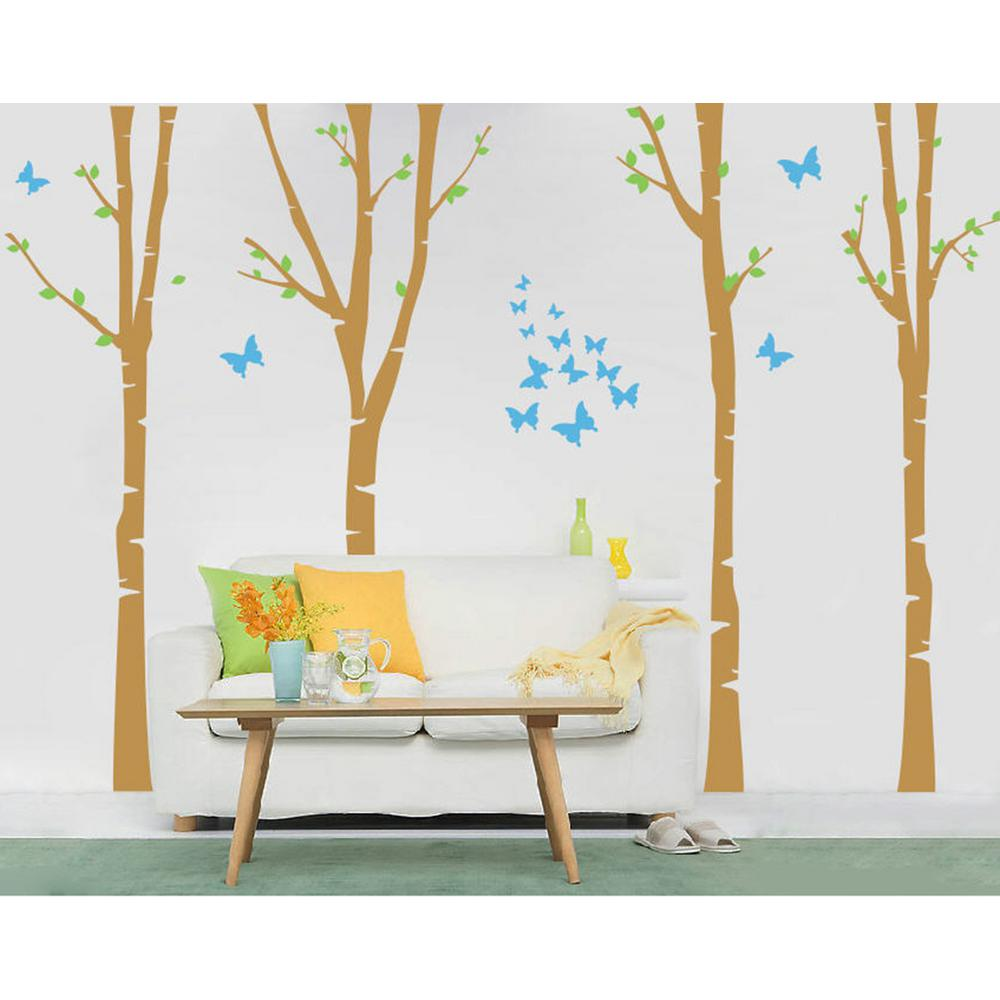 124 in. x 102 in. 4-Super Colorful Birch Trees Removable Wall