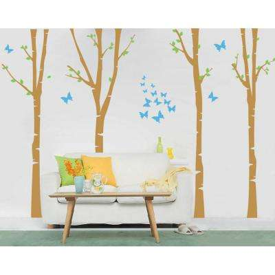 124 in. x 102 in. 4-Super Colorful Birch Trees Removable Wall Decal
