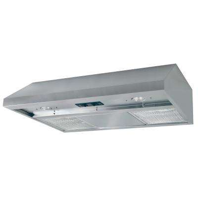 36 in. Under Cabinet Convertible Range Hood Deluxe Quiet Slimline with Light Stainless Steel, ENERGY STAR Certified