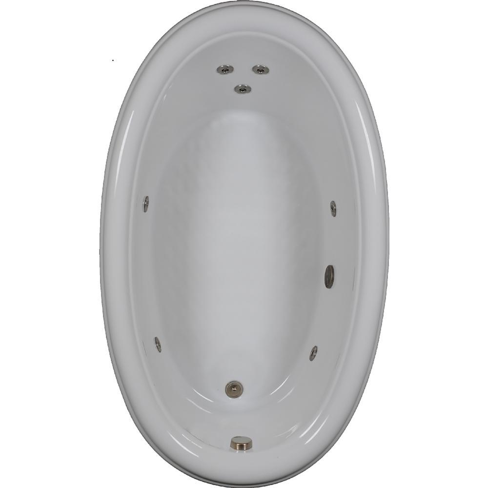 70 in. Oval Drop-in Whirlpool Bathtub in Bone