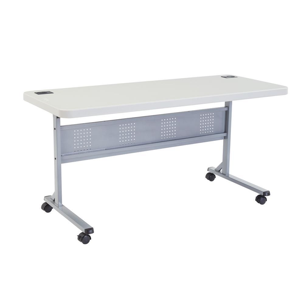 24 in. x 60 in. Grey Flip-N-Store Training Table
