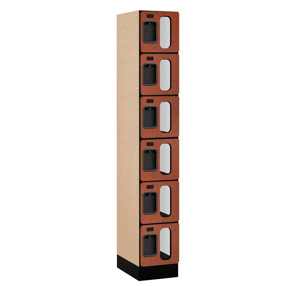 Salsbury Industries S-36000 Series 12 in. W x 76 in. H x 18 in. D 6-Tier Box Style See-Through Designer Wood Locker in Cherry