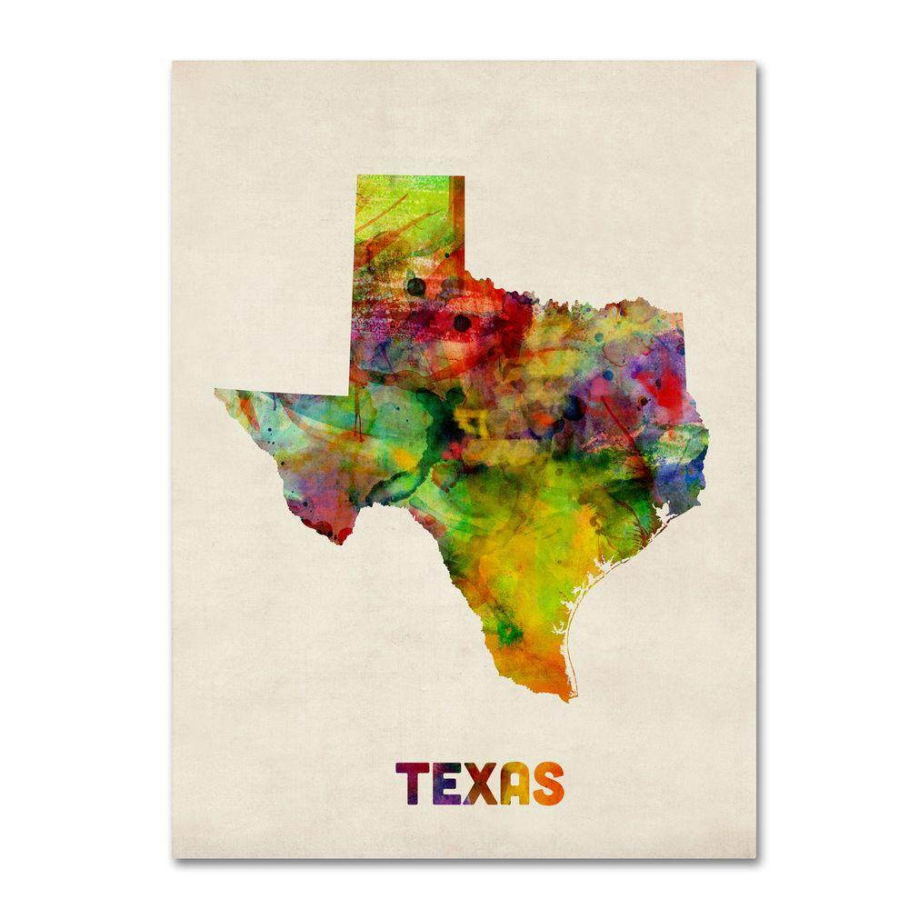 Trademark Fine Art 24 in. x 18 in. Texas Map Canvas Art