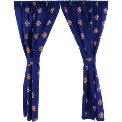 42 in. W x 63 in. L Illinois Fighting Illini Cotton With Tie Back Curtain in Blue  (2 Panels)