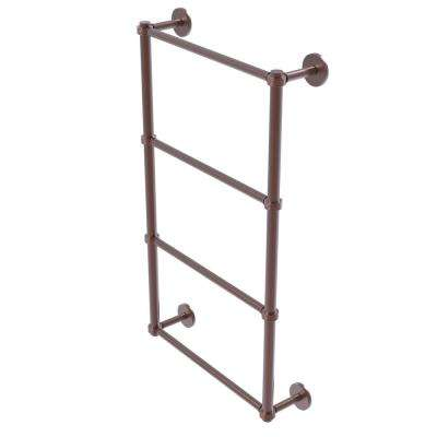 Prestige Skyline Collection 4-Tier 24 in. Ladder Towel Bar with Groovy Detail in Antique Copper