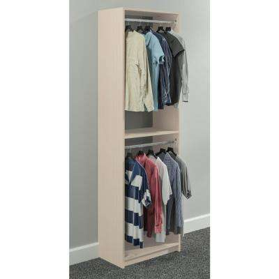 14 in. D x 24 in. W x 84 in. H Chai Latte Wood Double Hanging Closet System