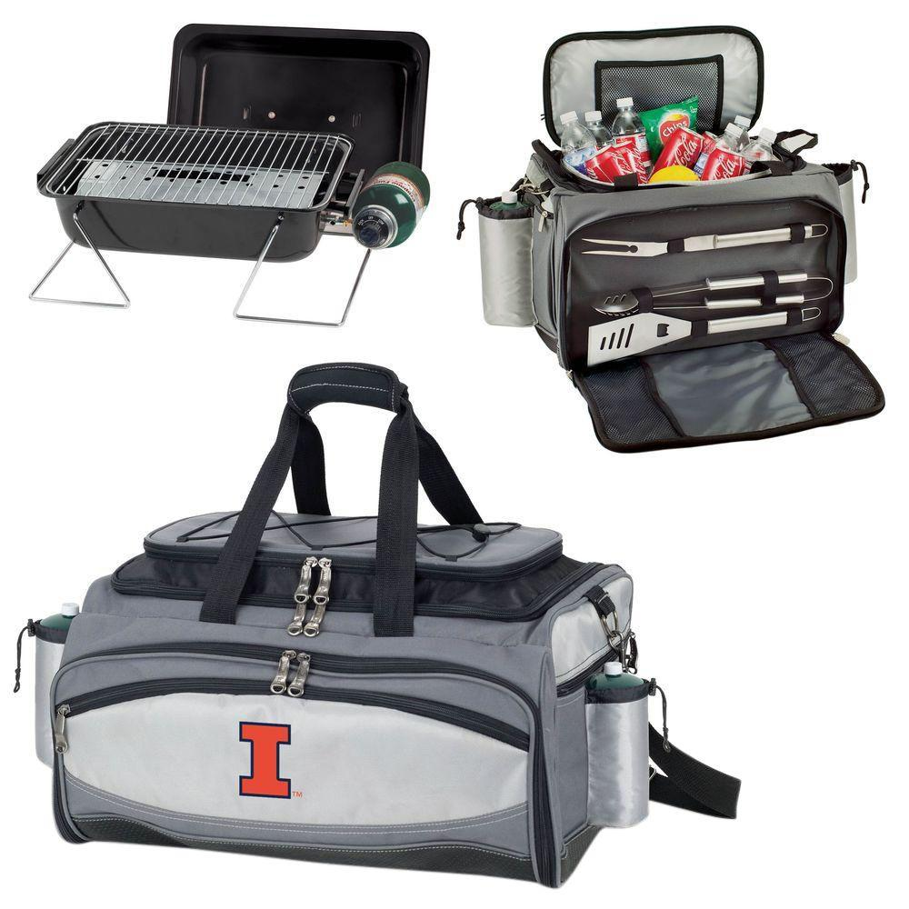 Picnic Time Vulcan Illinois Tailgating Cooler and Propane Gas Grill Kit with Embroidered Logo