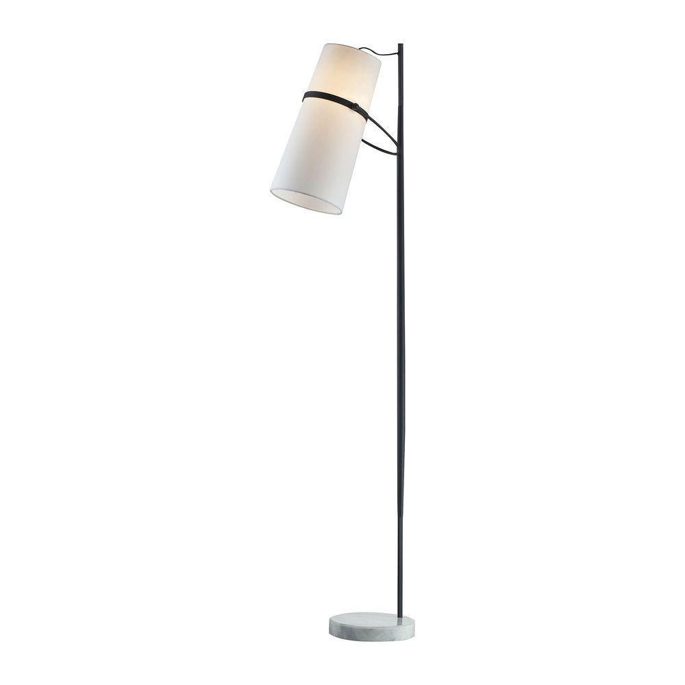 70 in. Matte Black Banded Shade Floor Lamp