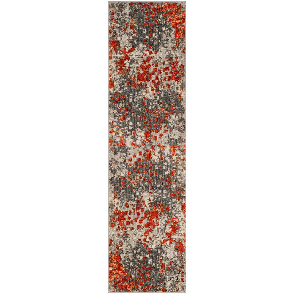 Monaco Gray/Orange 2 ft. 2 in. x 16 ft. Runner Rug