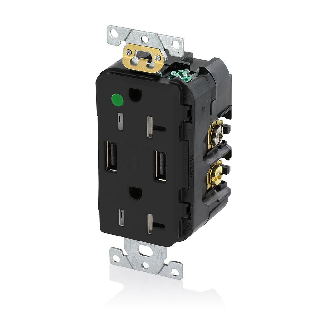 Decora 20 Amp Hospital Grade Tamper Resistant Duplex Outlet and 3.6 Amp USB Outlet, Black