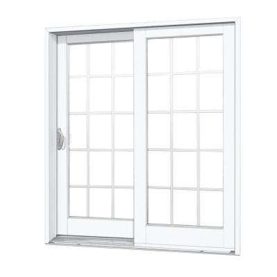 60 in. x 80 in. Woodgrain Interior and Smooth White Exterior Left-Hand Composite Sliding Patio Door with 15-Lite GBG
