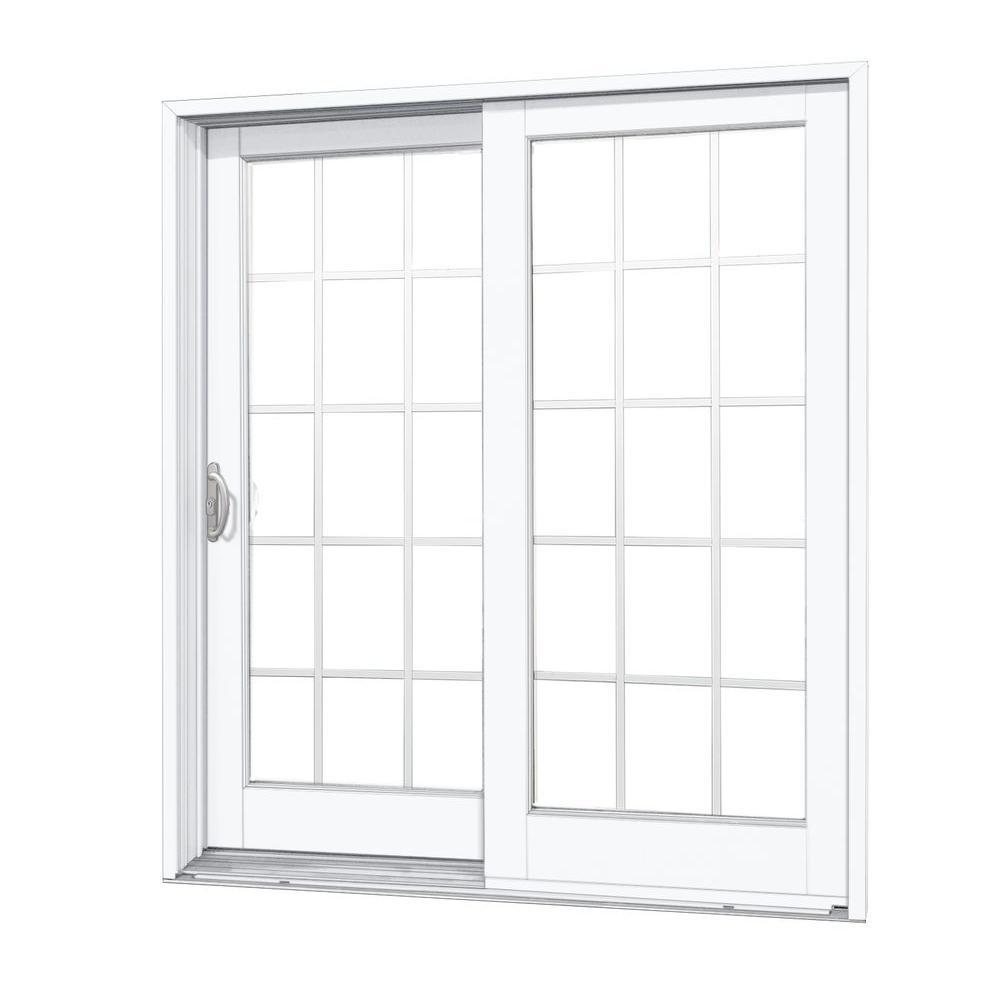 60 in. x 80 in. Woodgrain Interior and Smooth White Exterior Left-Hand Composite DP50 Sliding Patio Door, 15-Lite SDL