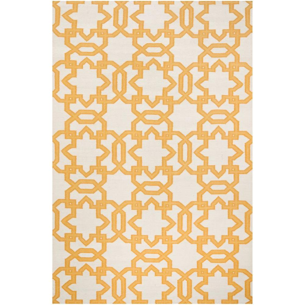 Dhurries Ivory/Yellow 6 ft. x 9 ft. Area Rug