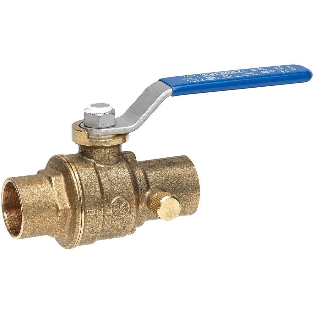 Everbilt 1/2 in. Brass Sweat x Sweat Ball and Waste Valve with Drain
