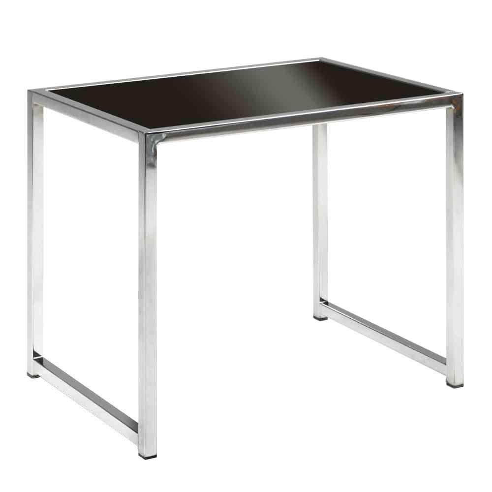 Beau Ave Six Yield Chrome Glass Top End Table