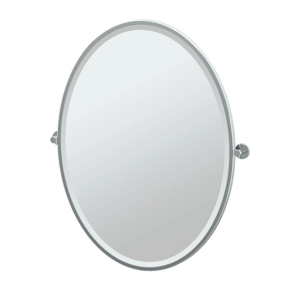 Channel 28 in. x 33 in. Framed Single Large Oval Mirror