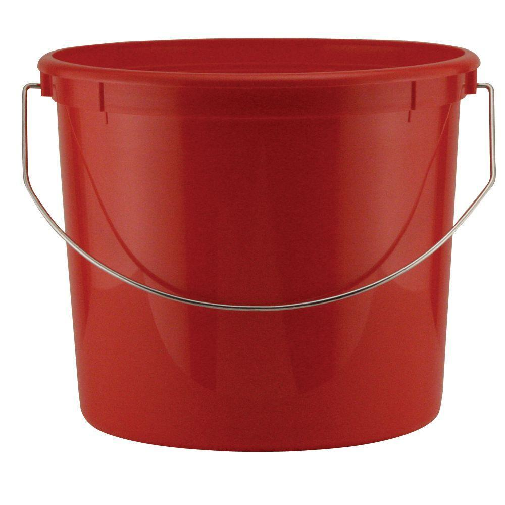 United Solutions 5-qt. Plastic Pail with Metal Handle in Red