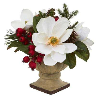 15 in. Magnolia, Pine and Berries Artificial Arrangement