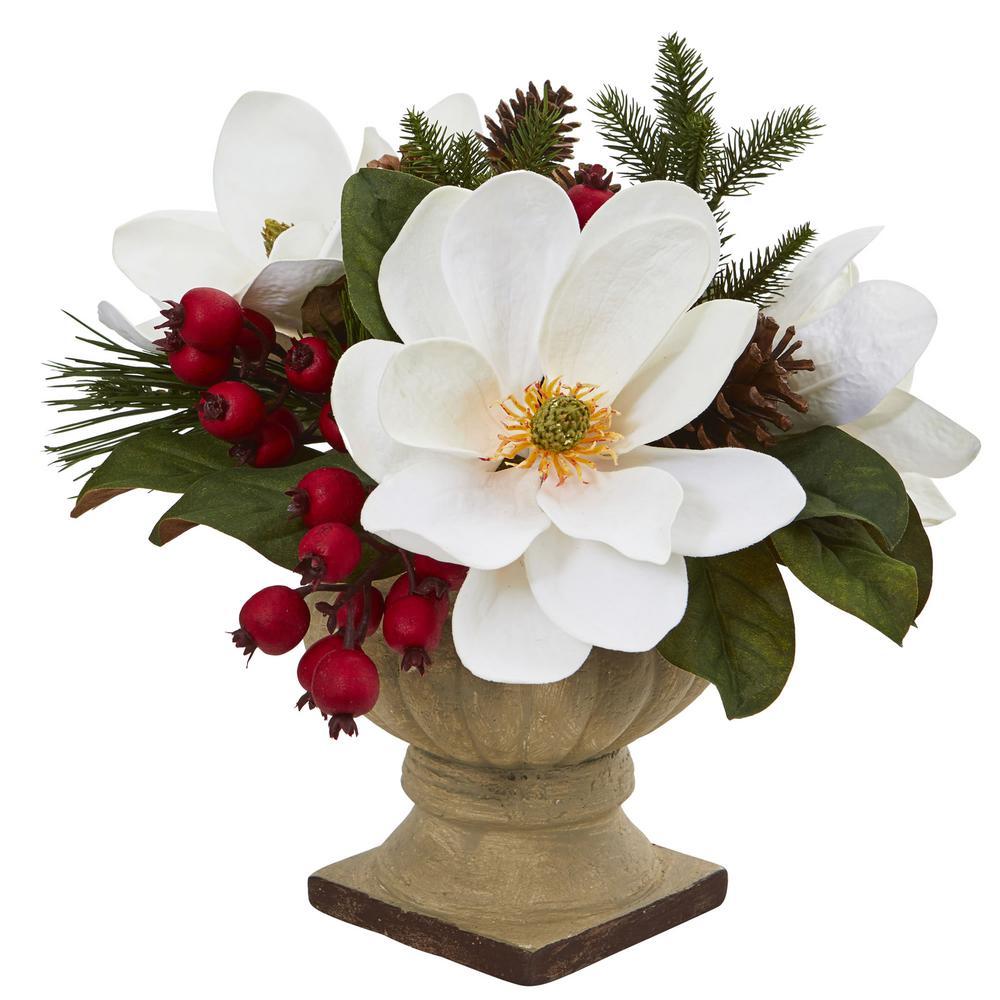 15 in. Magnolia, Pine and Berries Artificial Arrangement