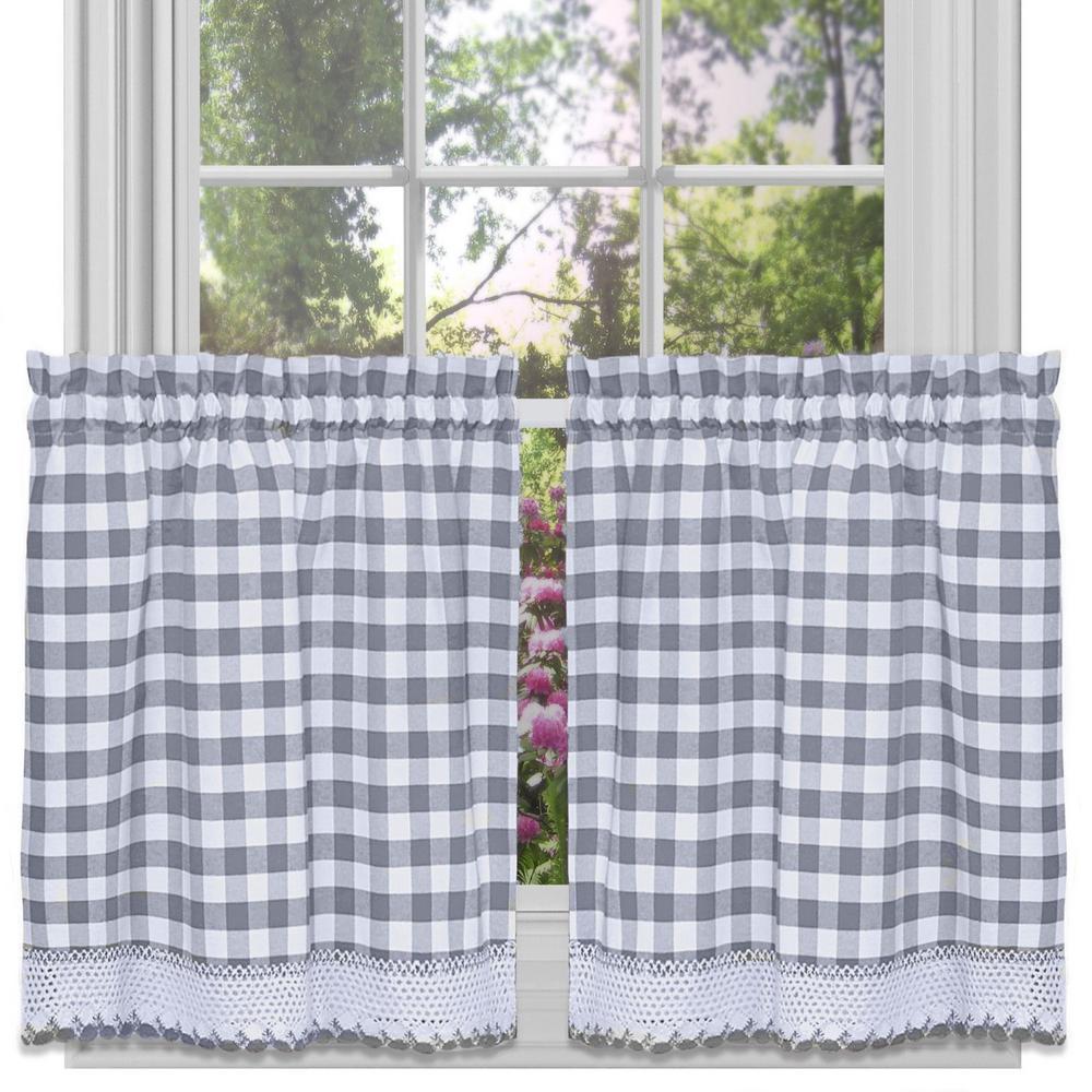Sheer Buffalo 24 in. L Polyester Window Curtain Set in Grey