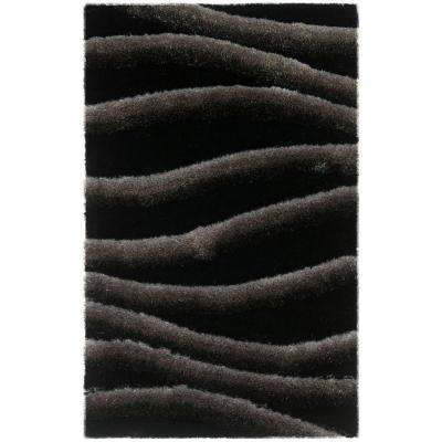 3D Shag Black/Gray 3 ft. x 4 ft. Area Rug