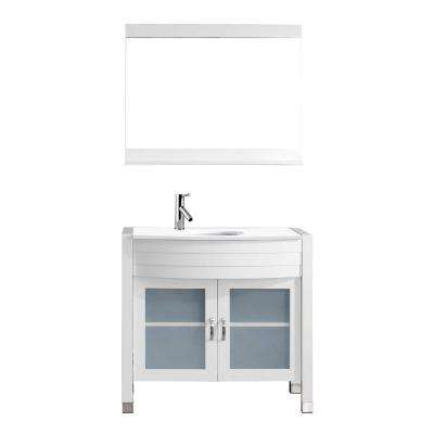 Ava 36 in. W Bath Vanity in White with Stone Vanity Top in White with Round Basin and Mirror and Faucet