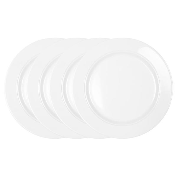 Diamond 4-Piece Traditional White Melamine Outdoor Dinner Plate Set
