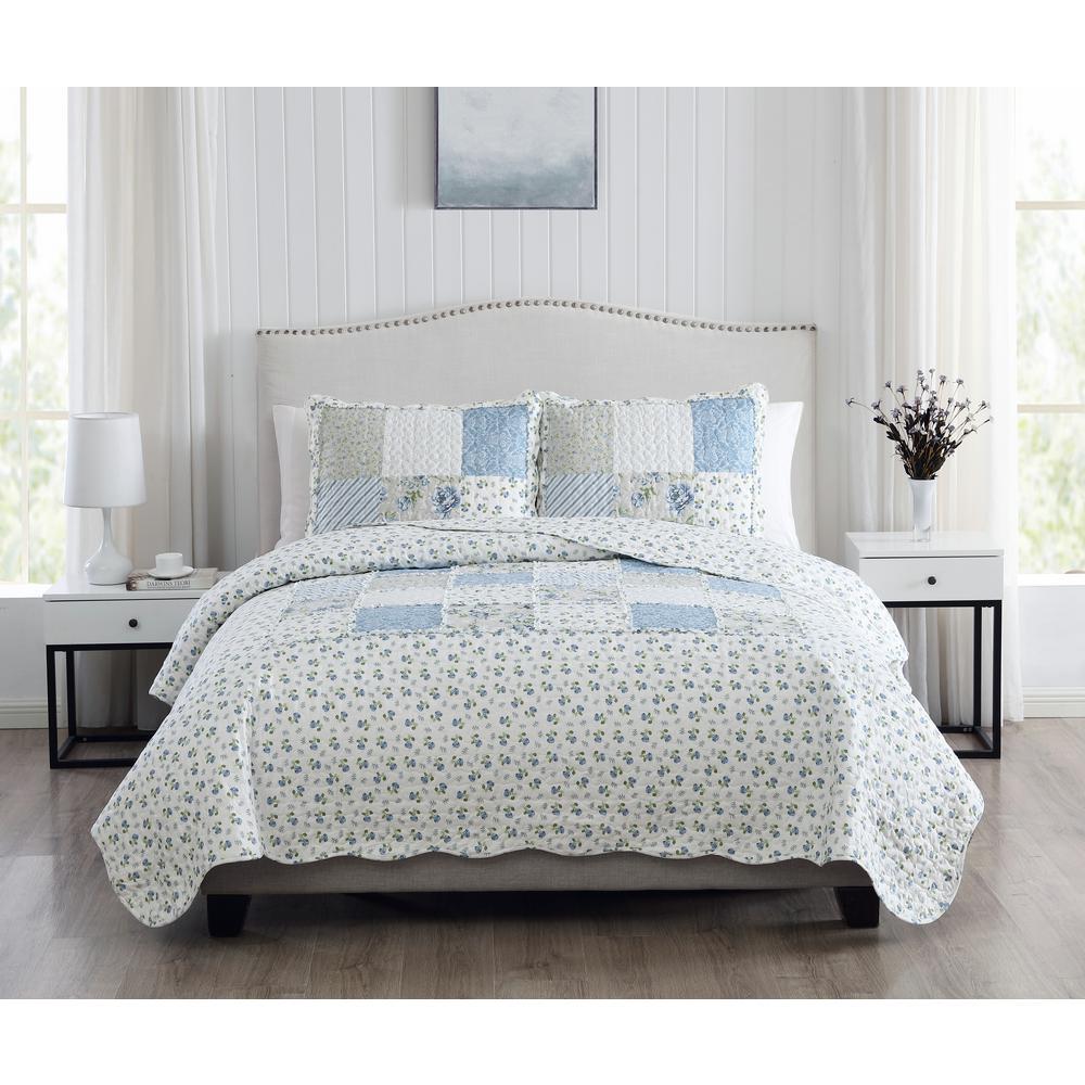Brenna 3-Piece Blue Full/Queen Floral Patchwork Quilt Set