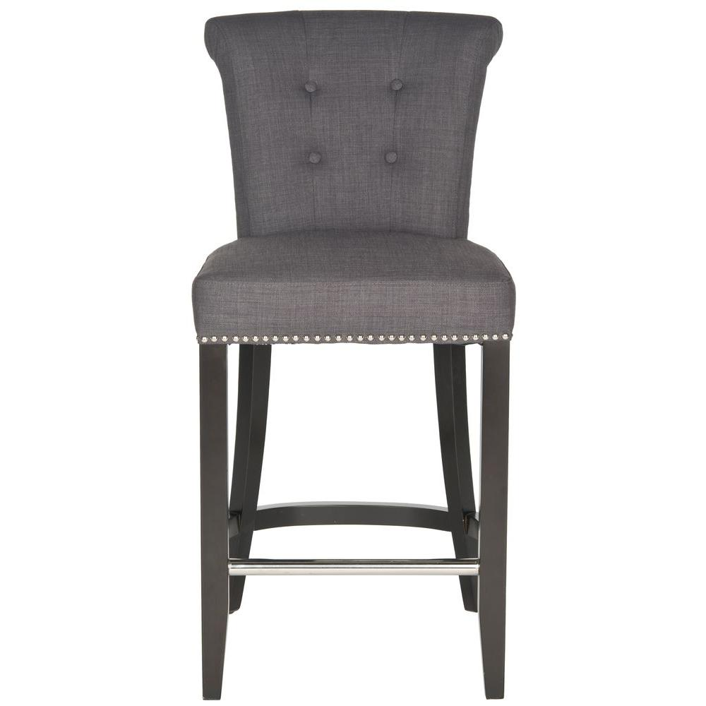 Safavieh Addo 25 7 In Charcoal Cushioned Bar Stool