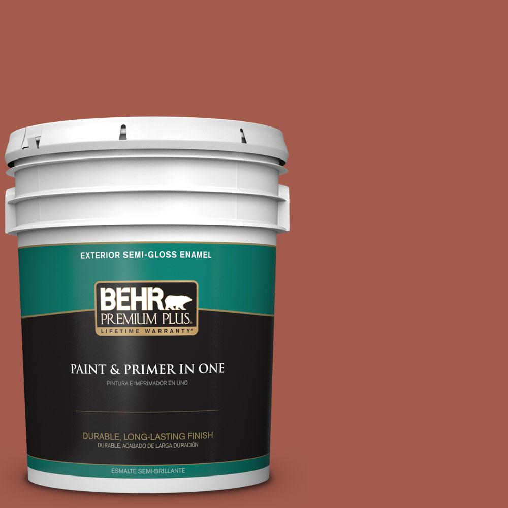 5 gal. #PPU2-15 Cajun Red Semi-Gloss Enamel Exterior Paint