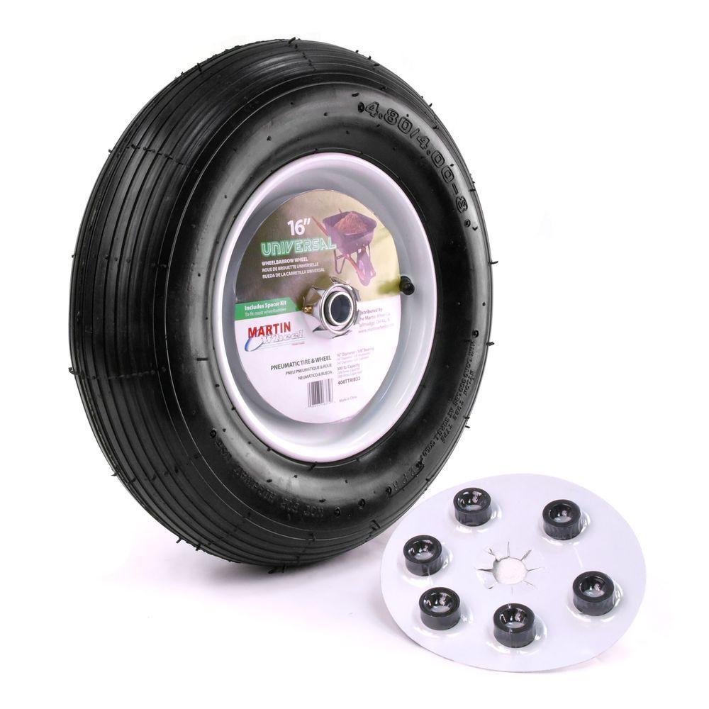 480/400-8 16 in. Wheelbarrow/Garden Cart Wheel with Hub 5/8 in. Ball