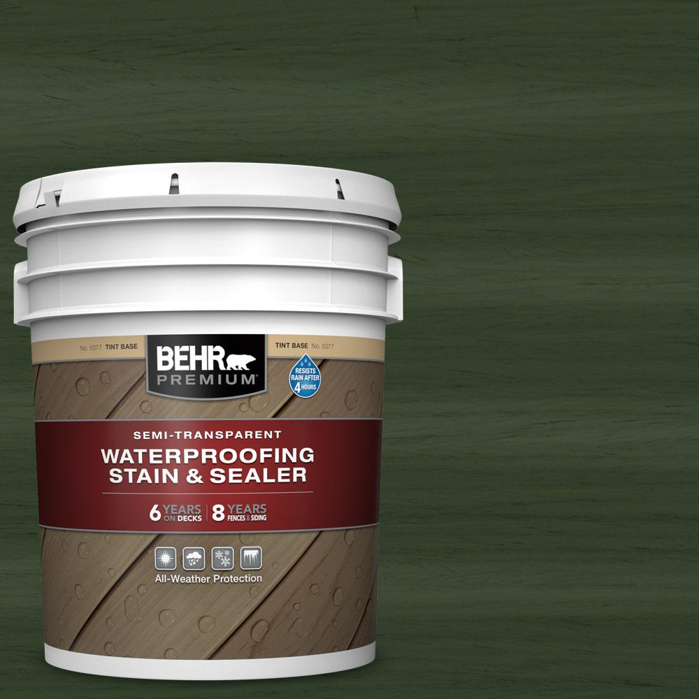 BEHR Premium 5 gal. #ST-120 Ponderosa Green Semi-Transparent Waterproofing Exterior Wood Stain and Sealer