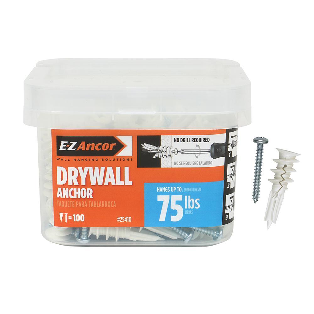 Twist-N-Lock 75 lbs. #8 x 1-5/8 in. Medium Duty Drywall Anchors (100-Pack)
