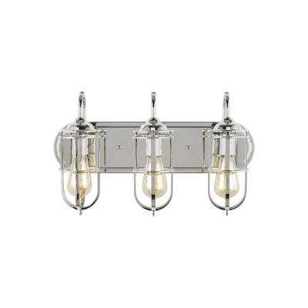 Urban Renewal 3-Light Polished Nickel Vanity Light