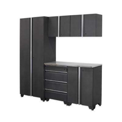 Classic 75 in. H x 78 in. W x 18 in. D Steel Cabinet Set in Coal (6-Piece)