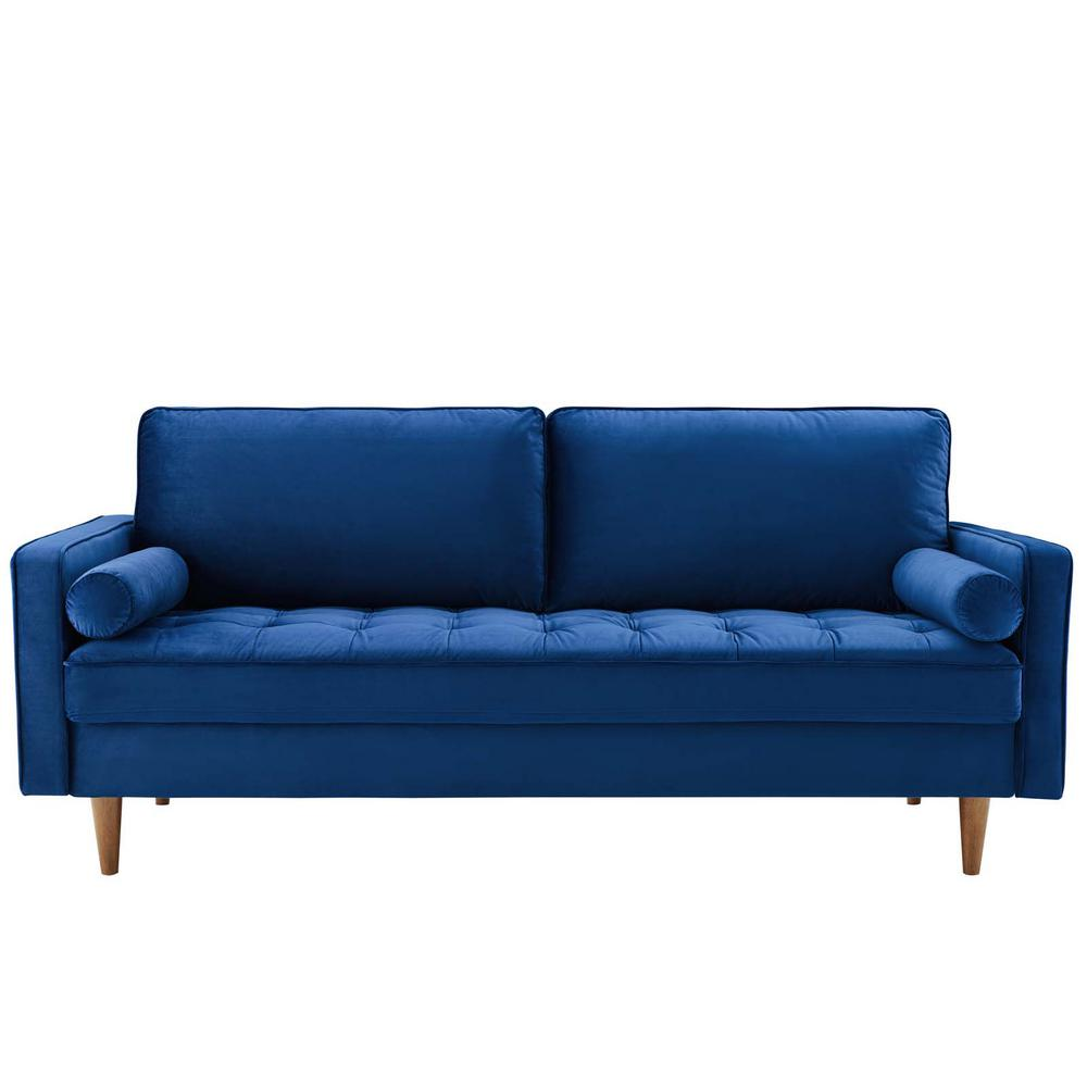 Modway Valour 73 In Navy Velvet 3 Seater Tuxedo Sofa With Square Arms Eei 3764 Nav The Home Depot