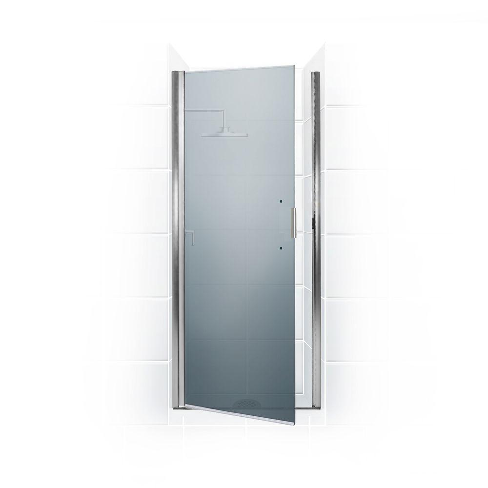 Coastal Shower Doors Paragon Series 25 in. x 82 in. Semi-Framed Continuous Hinge Shower Door in Chrome with Satin Etched Glass