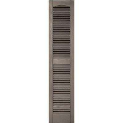 12 in. x 55 in. Louvered Vinyl Exterior Shutters Pair in #008 Clay
