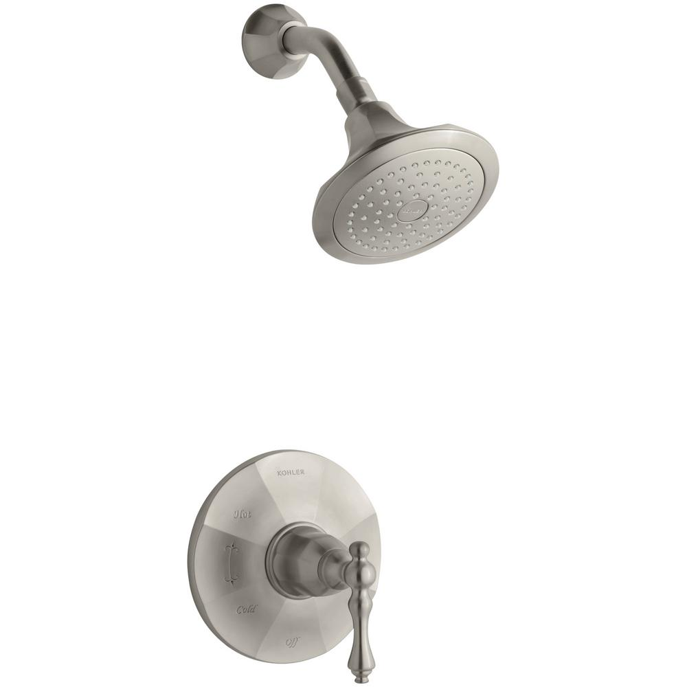 Kelston 1-Spray 6.5 in. 2.5 GPM Fixed Shower Head in Brushed