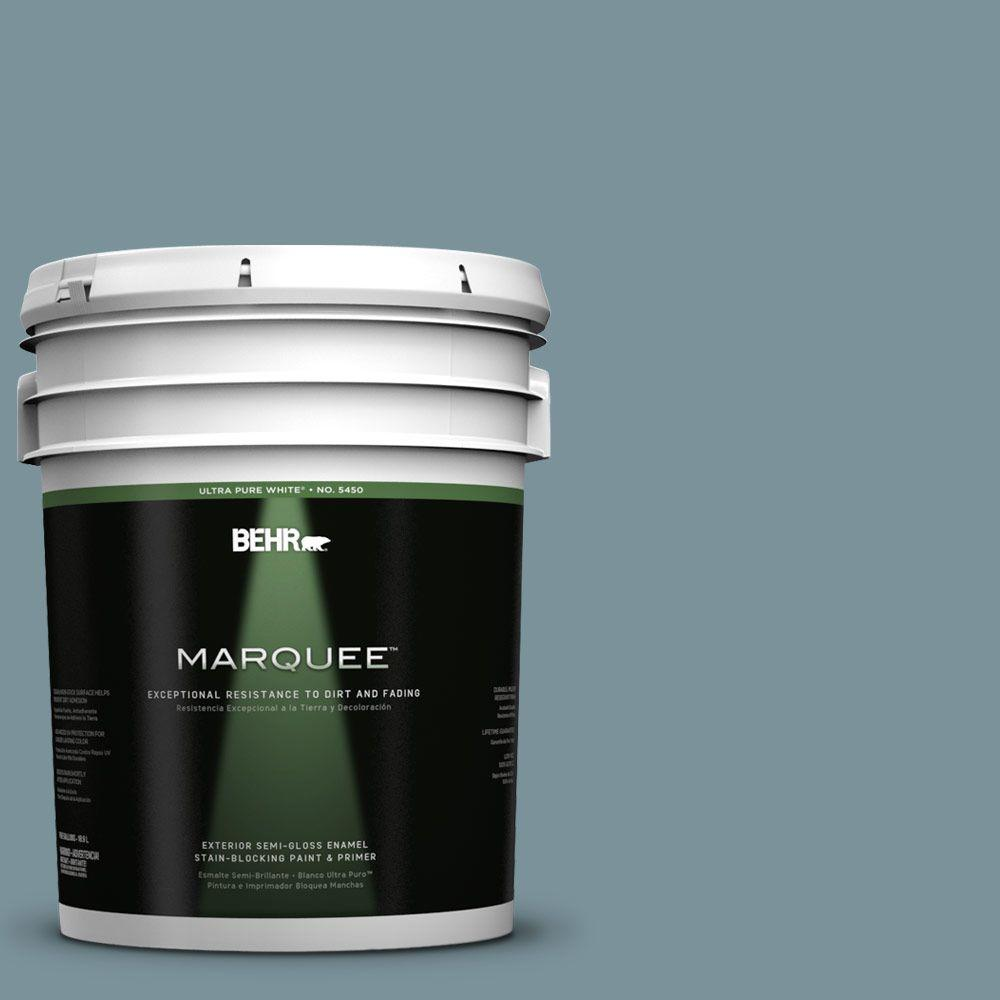 BEHR MARQUEE 5-gal. #PMD-55 Silent Tide Semi-Gloss Enamel Exterior Paint