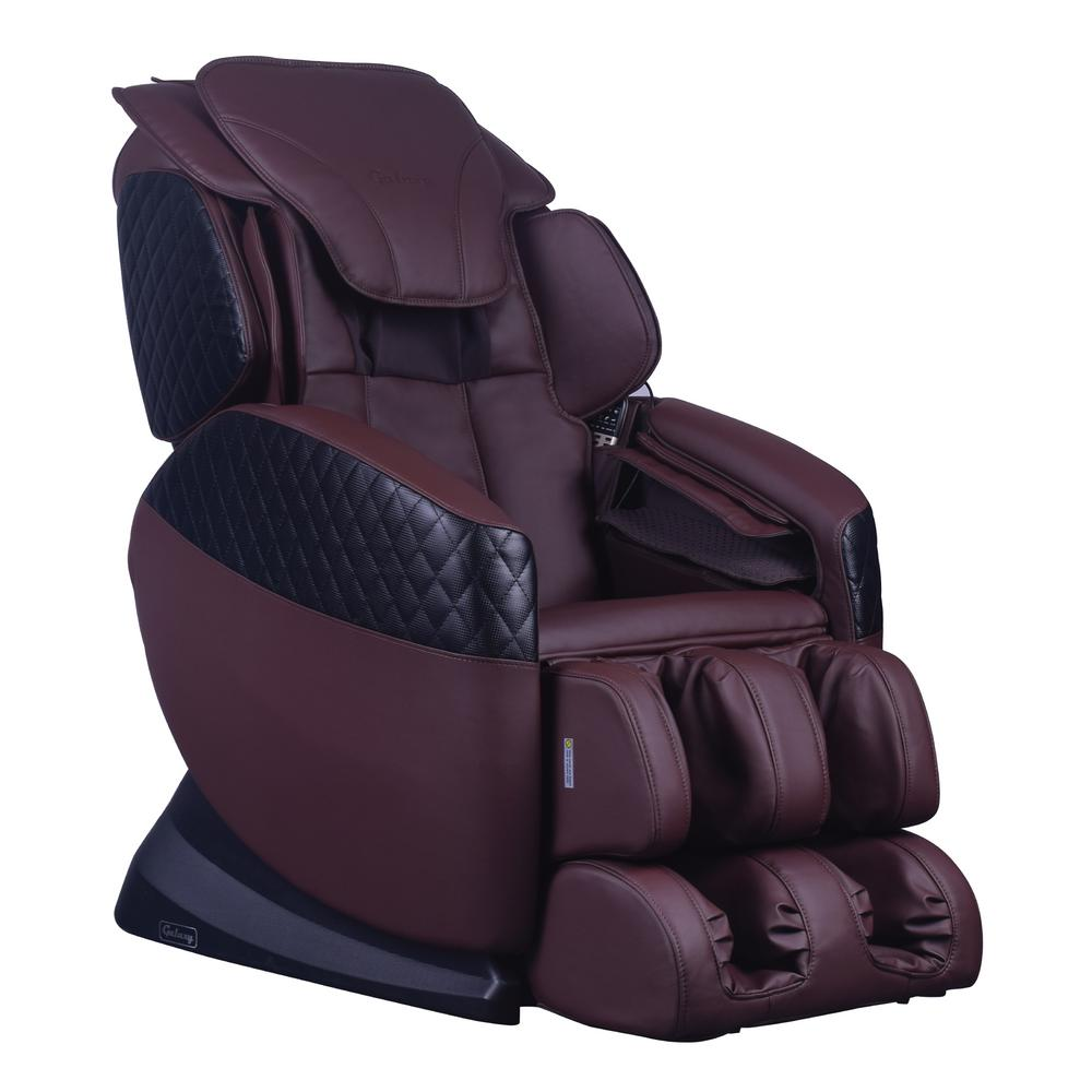 Galaxy Series Brown Faux Leather Reclining Massage Chair with 6-Programmable
